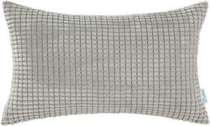 CaliTime Cozy Pillow Cover Case Corduroy Corn Striped 12 X 20 inch