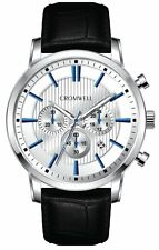 Cromwell Watch Co Silver Case Chronograph w/White Face & Croc Style Leather Band