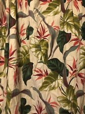 Pair Tiki Hawaiian Birds Of Paradise BarkCloth Curtains Mid Century Atomic Vtg