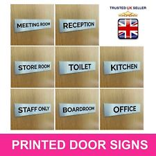 Business Office Door Wall Sign Silver Aluminium 203 x 51mm Self Adhesive Plaque