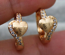 18K Yellow Gold Filled - Laser Carved Heart Topaz Zircon Hoop Party Earrings