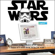 Large Starwars Logo with Storm Trooper head wall art sticker bedroom transfer UK