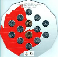 Canada 2010 Hexagon RCM Vancouver Olympic 14 Coin Set!!