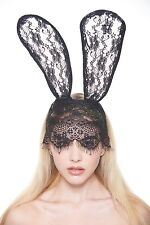 Black Laced Bunny Ear Headband With Net And Flower Design