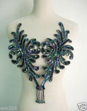 Bd47-2 Fringed Bodice Sequin Bead Applique Motif Black Iris Dancewear BellyDance