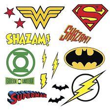 DC COMICS SUPERHERO LOGOS 16 Wall Decal Superman Batman Room Decor Stickers