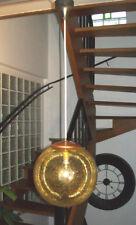 SUSPENSION VINTAGE GLOBE LAMPE VERRE JAUNE CUIVRE DESIGN 60 70