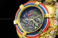 "Invicta 54mm Bolt ZEUS Tri-Cable Japanese Koi Fish ""Kohaku"" Gold Plated SS Watch"