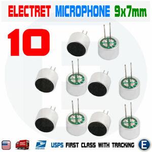10pcs Electret Condenser Microphone Cylindrical High Sensitivity 30-44dB 9x7mm