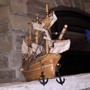 "Antique Solid Wood 12"" Handmade Model Clipper Ship Boat Vintage MCM Sails Pirate"