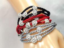 Leather Alloy Crystal Shamballa Costume Bracelets