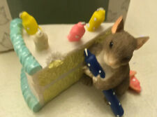 """Fitz And Floyd Charming Tails """"How Many Candles?� Mouse With Cake Figurine"""
