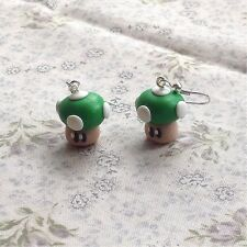earrings Mario Mushroom Green Funky Kitsch Game Drops Handmade Super Cute