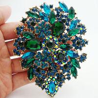 Classic Style Green Crystal Rhinestone Dual Droplets Flower Art Nouveau brooch