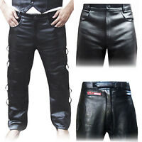 Leather Biker Trousers / Tights Jeans Leather pants Plain,Padded,Side Laces