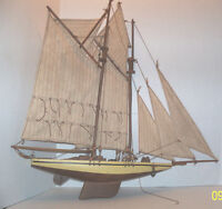 """Large wooden ship with sails hand made 23"""" x 24"""" wow"""