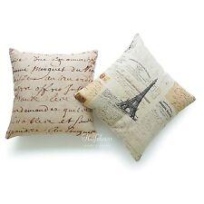 Throw Pillow Cover French Country Vintage 1700s Script Parchment Paper Paris 2PC