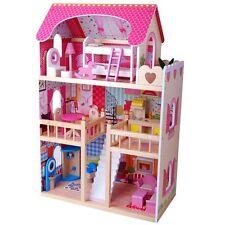 XL Puppenhaus Puppenstube aus Holz mit Möbel Zubehör Einrichtung Biegepuppen