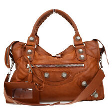 Auth BALENCIAGA Giant City 2Way Shoulder Hand Bag Leather Brown Mirror 32D880