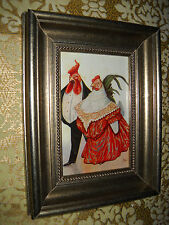 DRESSED CHICKEN COUPLE 6 X 8 silver WOOD framed picture Victorian style print