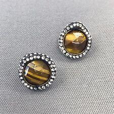 Fashionable Beautiful Semi Precious Brown Stone Rhinestone Stud Earrings