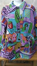 Artscapes Lined Shirt Jacket Women Size Small Vibrant Colorful Abstract Designs