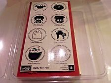 Stampin Up Batty for You Stamp Set of 8 Halloween Bat Spider Ghost Black Cat UM
