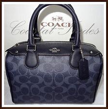 NWT $295 Coach Leather Mini Bennett Signature Satchel Hand Bag DENIM BLUE #57672