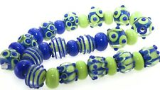 OliveStuart Handmade Lampwork Beads 31 cobalt/green round