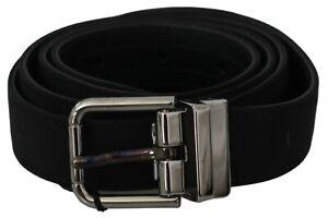 DOLCE & GABBANA Belt Black Solid Leather Cotton Gray Buckle 90cm /3