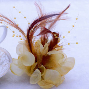 18Colors Pearl Corsage Hair Clip Flower Fascinator Feather Hairpin Party Wedding