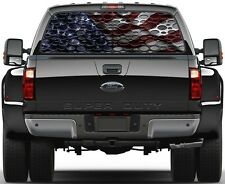 Punch Steel Carbon Fiber & USA American Flag Rear Window Graphic Decal for Truck