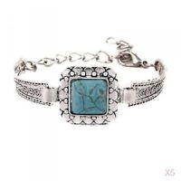 Tibetan Silver Chain Turquoise Friendship Bangle Bracelet Gift Cuff