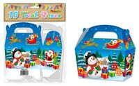 10 Christmas Treat Boxes - Gift Party Kids Cupcake Xmas Wrapping Bag Snowman