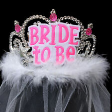 Hen Night Party Crystal Tiara And White Long Veil L Plate Bride to Be Accessory