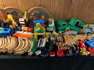 Huge Lot of 32 lbs of Geotrax Fisher-Price Tracks Trains & Remotes Structures