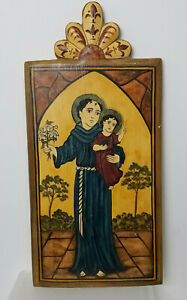 Retablo Saint Anthony Hand Painted Traditional Spanish Style Robles-Shaw 2006