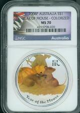 2008 ( 2008-P ) S$1 AUSTRALIA COLORIZED Lunar Mouse (Rat) 1 Oz. SILVER NGC MS70