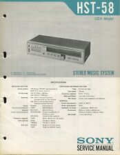 Sony HST-58 Original FM/AM 8-Track Stereo Music System Service Manual