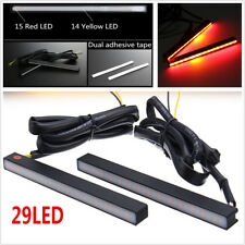 2X Red/Amber 29 LED Aluminium Car Brake Stop Light DRL+Flowing Turn Signal Lamp
