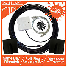 40m Cat6 External Outdoor Network Cable Ethernet Extension Kit Face Plate Box