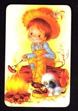Vintage Swap Card - Boy with Puppy Cooking Sausages (Blank Back)