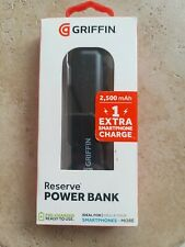 New 2500mAh Portable Power Bank Griffin Reserve - Up to 1 Extra Charge - Black