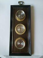 "Vintage Weather station Temperature Barometer Humidity Plastic wood 17"" tall 7"""