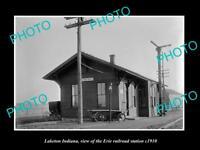 OLD LARGE HISTORIC PHOTO OF LAKETON INDIANA, ERIE RAILROAD STATION c1910