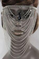 Women Silver Metal Chain Head Face Mask Fashion Jewelry Spider Web Net Halloween