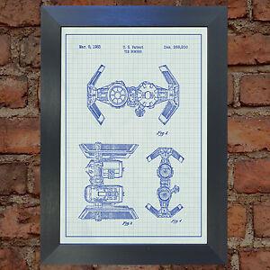 STAR WARS Tie Bomber Blueprint VERY RARE Reproduction Vintage Wall Art Print #23