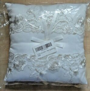 """Amajoy Ivory Wedding Ring Pillow Bearer Cushion Embroidered Lace Flower 8"""" NEW"""