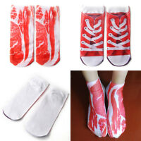 Fashion 3D Printed Unisex Men Women Low Cut Ankle Socks Bacon Meat New 1Pair