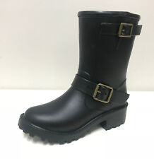 DAV Rainboots Women's Moto Wellington Boots Solid Black  UK Size 3/36